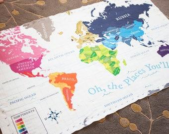 World Map Blanket / Swaddle Blanket / Map Blanket - Baby Blanket / Toddler Blanket / Baby Gift / Newborn Gift / World Map / Personalized