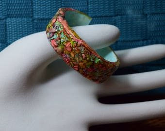 Flower stamped cuff bracelet
