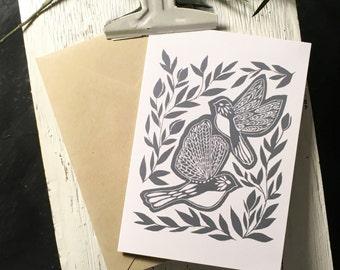 Floral Birds Note Cards [Dark Blue] 10pk