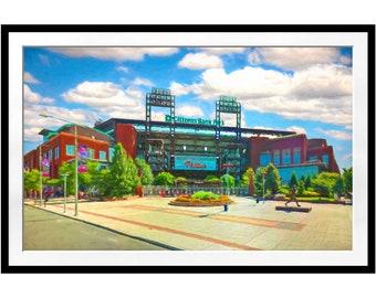 Philadelphia Phillies, Citizens Bank Park, Man Cave, College Dorm, Baseball Stadium Ballpark, Sports Art Large Art Print, Guy Gift
