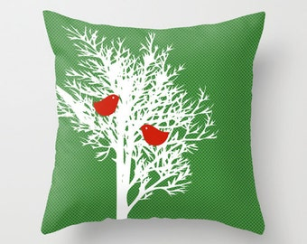 "Tree silhouette on Throw Pillow 18"" x 18"" - green pattern, novelty throw pillows, decorative throw pillows, cushions"