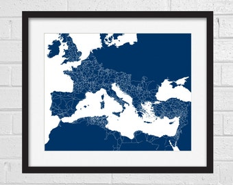 Ancient Roman Roads Art Print - History Map - Rome - Roman - Ancient Rome - Roman Map - Italy - Map Print - History Collection