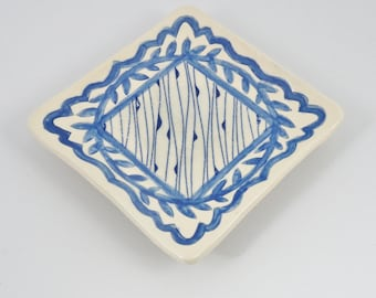 Square Ring Tray, Handbuilt Ceramic Ring Dish, Soap Dish for Guest Bath, Handmade Pottery Trinket Dish, Blue Pottery Ring Dish,