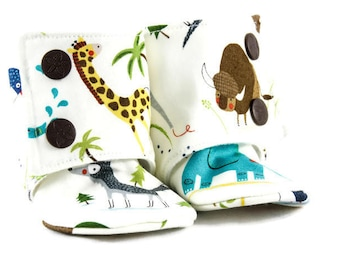 Animal print crib shoes, Baby booties, Elephant, Giraffe, Baby moccasins, Girls shoes, Toddler slippers, Boys booties, Boys slippers, Boots