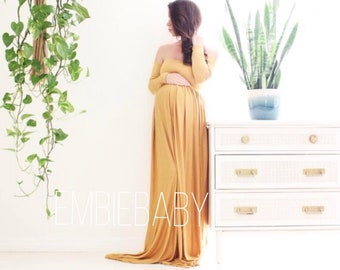 off shoulder long sleeve Maternity gown photo shoot baby shower maternity dress - babydoll *