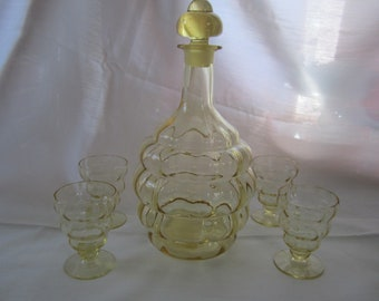 Fostoria Glass 4101 Topaz Decanter and Whiskey Stems