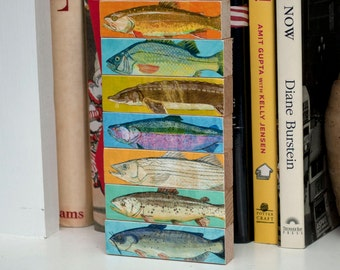 Fathers Day Fishing gift, Gifts for Men, Fish Art, Fish Sticks, Freshwater Fish Art Block Set of 7, Dad Gift, for Dad, Lake House Decor