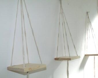 Set of 3 Mini shelves Macrame hanging off-white white