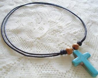 Turquoise cross pendant necklace, Adjustable cotton cord necklace, Choose your necklace pendant