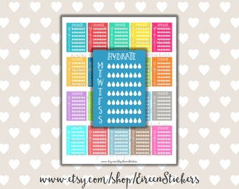 Hydrate Rainbow Printable Planner Stickers, Water Intake, Side Box, Erin Condren Printable Stickers, PDF - Instant Download