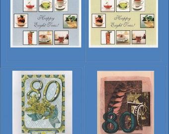 Handmade 80th Birthday Cards -- 4 Variations Milestone card - Free Shipping in USA