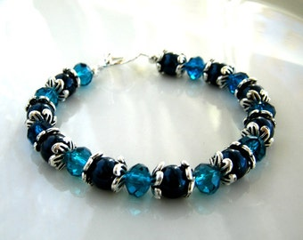 Crystal and Peacock Blue Pearl Bracelet made with Swarovski Crystal Elements Pearls