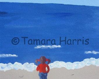 Coastal painting, beach painting, seascape painting, coastal art, cornish painting, ocean painting, seaside painting, Childhood Memories