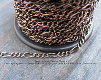5 Feet - Quality Antique Copper Plated 2.3mm Long Short Figaro Bulk Chain