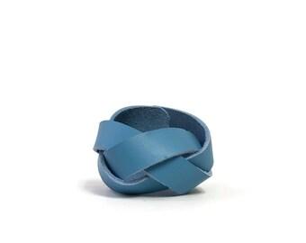 Braided Leather Cuff in Little Boy Blue