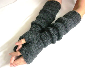 Dark GRAY EXTRA LONG Fingerless Gloves, Merino Wool Mittens, Arm Warmers, Hand Knitted, Eco Friendly