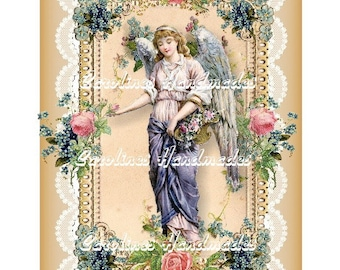 "Beautiful Angel Collage Cotton Fabric Quilt Block (1) @ 5X7"" on 8.5X11"" Sheet"