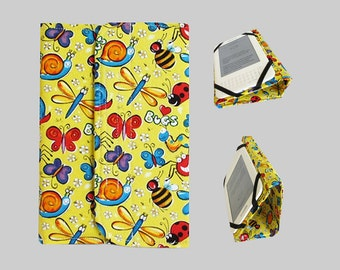 Standable Kindle Cover, Kindle Fire Case, Nook Cover, Kobo Case, Nexus 7 Cover, Kindle Fire HDX, iPad Mini, Dell Venue Happy Bugs