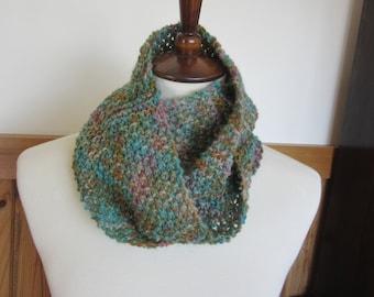 Handknit Alpaca Infinity Scarf from Handpainted Yarn