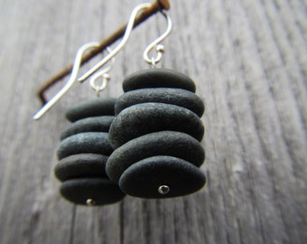 Black Sea Pebbles Earrings with Silver Earring Hooks. Simple and Elegant.