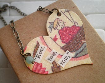 Nautical Heart Statement Necklace - Vintage Row Boat Collage Bib Necklace - Upcycled Paper Card Pendant - Glitter Heart Jewelry Gift For Her