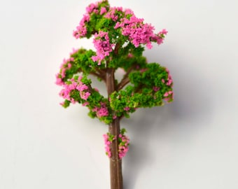 Pink Green Fluffy Miniature Tree Garden Plants Terrarium Doll House Ornament Fairy Decoration  070516