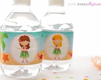 Hula Girls Printable Water Bottle Wrappers, Hula Party Bottle Labels, Instant Download, Luau Party Printable, Tropical Beach Party Wrapper