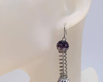 2 beads earrings violet shamballa and spring