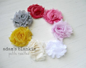 YOU CHOOSE two COLORS - Petite Shabby Chic Rosette Headband - Yellow White Cream Pink Red Gray