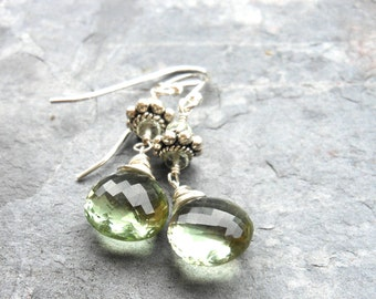 Green Amethyst Earrings Dangle Sterling Silver, Prasiolite Briolette Earrings