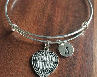 Hot air balloon initial bracelet, balloon bracelet, silver hot air balloon bracelet, travel bracelet, balloon jewelry