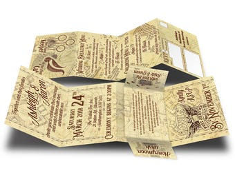 Personalised HANDMADE Harry Potter Marauder's Map Wedding Day Invites / Evening Invitation +Envelope