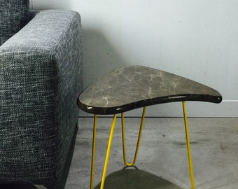 Table marble emperadoro dark legs pinhead Mid Century style Hairpin legacy by workshop Bussière shop