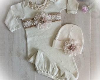 Newborn Girl Take Home Outfit, Newborn Girl Gown, Newborn Layette,Baby Girl Take Home Outfit, Newborn Girl Layette