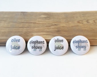 "I love you Elephant Shoes & Olive Juice - set of 4 - 1"" button magnets"