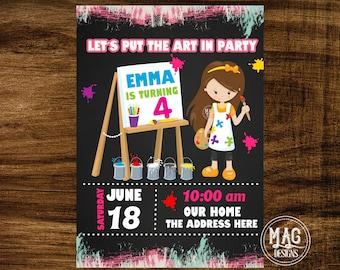 Art Party Invitation - Art Invitation - Art Birthday Party - Painting Party - Art Party Digital Invitations.