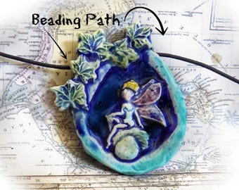 one of kind bead - Fairy Focal Bead,  ceramic Bead, fairy necklace supply , OOAK Ceramic bead, fairy bead - pottery bead   # 122