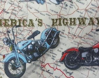 "End of bolt 33""   100% cotton  fabric motorcycle bike Harley Davidson Honda Kawasaki Yamaha Suzuki route 66 tan background 3.5""  4"" bikes"