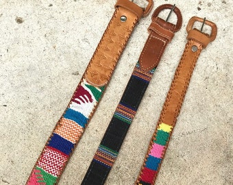 Vintage Lot of 3 Guatemalan Leather Belts | Southwestern Woven Stamped Leather Belt | small | medium