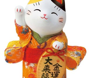 From Japan Beckoning Cat for Good Luck Crepe Manekineko