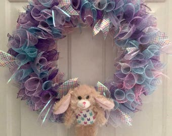 Easter Deco Mesh Multicolor Bunny Springtime Wreath Front Door