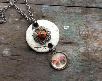 Orange Butterfly Necklace, Long Necklace, Recycle, Statement Necklace, Mixed Metal, Garden