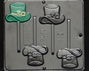 Hat with Shamrock Lollipop Chocolate Candy Mold St. Patrick's Day 4010