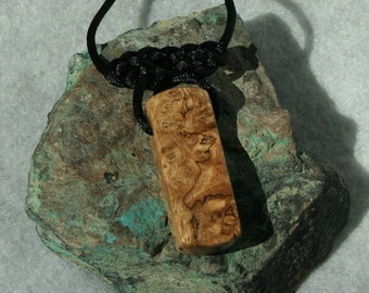 Carpathian Elm Burl Wood Pendant with Celtic Knot Detail