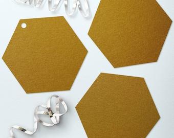 Antique Gold Hexagons Metallic Cardstock Hexagons Dark Gold Honeycomb Shaped Tags Antique Gold Die Cut Hexagons Set of 40 Gold Hexagon Tags