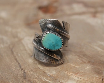 Feather Wrap Ring. Women's wide statement ring with turquoise set on handcrafted sterling silver. Made to order gemstone ring. Quality.