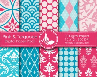Pink Turquoise Paper Pack - 10 Printable Scrapbooking Digital papers - 12 x12 - 300 DPI