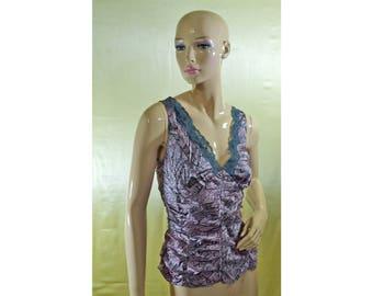 Vintage women top blouse 100% silk vest