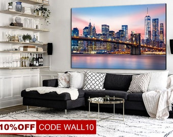New York, New York Canvas, New York Cityscape, Cityscape Wall Art, New York Wall Print, New York Twilight, Wall Home Decor, Canvas Cityscape