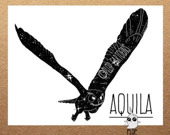 Aquila Space Owl Constellation Giclee Art Print